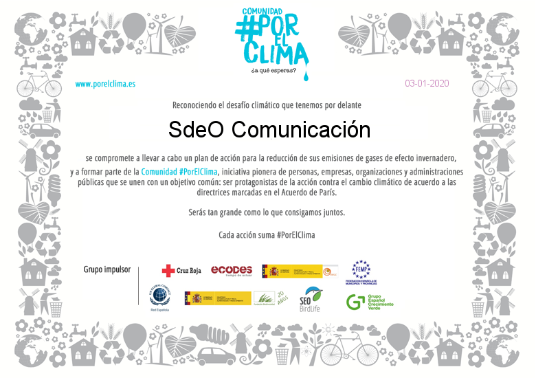 SdeO Comunicación se une a la Comunidad #PorElClima